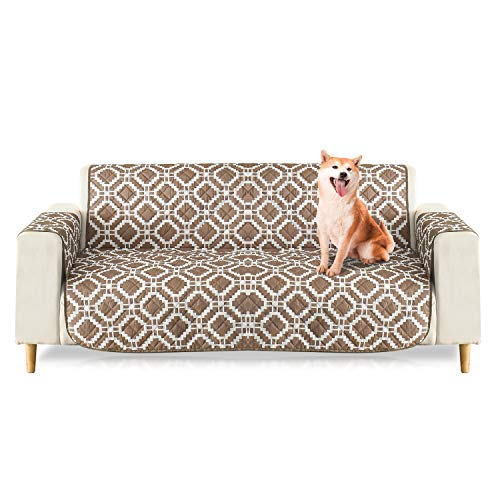 PETCUTE Fundas de Sofa Impermeables Cubre Sofas 2 plazas Protector Sofa Impermeable Funda para sofá para Mascotas marrón