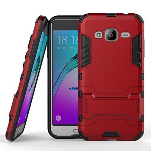 Funda para Samsung Galaxy J3 2015 / Galaxy J3 2016 (5 Pulgadas) 2 en 1 Híbrida Rugged Armor Case Choque Absorción Protección Dual Layer Bumper Carcasa con Pata de Cabra (Rojo)