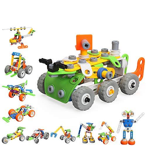 MOONTOY Konstruktionsspielzeug für Kinder, STEM Gebäude Kit Bausteine Spielzeug für Jungen und Mädchen Baukasten Pädagogische Lernspielzeug ab 5,6,7,8,9,10 Jahre Bauset 11 Modelle