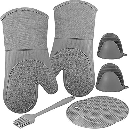 Vomactco Manoplas de horno con forro acolchado, Juego de manoplas de silicona y soporte para ollas con cepillos para hilvanar Protegen las manos de superficies calientes (7 piezas)