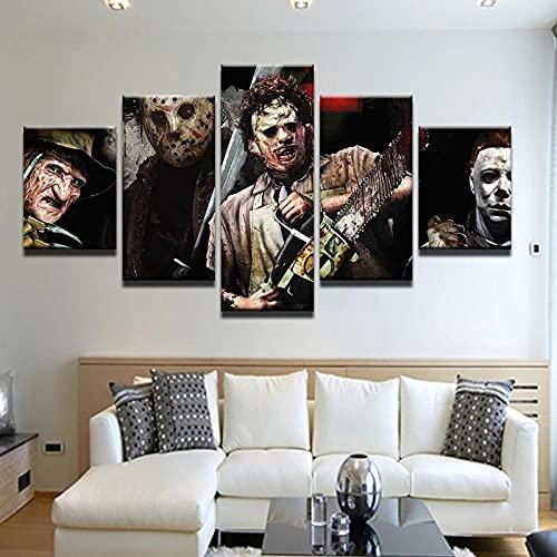 RYTR Lienzo Impresiones en HD decoración del hogar/Póster Asesino de Motosierra de película de Terror /5 Piezas Arte Cuadros modulares para Sala de Estar Dormitorio póster artístico