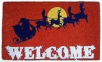 ドアマット - サンタとトナカイのフロックドコアウェルコームマット - クリスマスドアマット