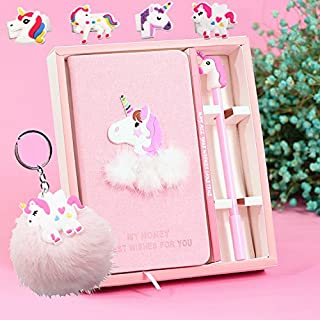 Unicorn Journal Gel Pens Stationery Set Pendant Unicorn Key Ring-Lovely Birthday Unicorn Gifts For girls Of All Ages: 3 4 5 6 7 8 9