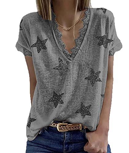 Camiseta De Encaje Estampada con Cuello En V De Moda De Verano para Mujer
