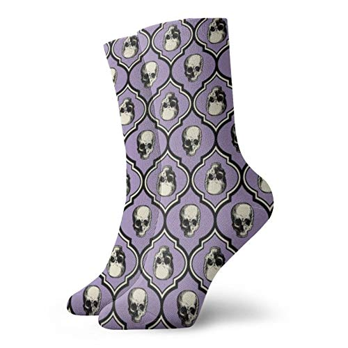 Colin-Design Französische Totenköpfe, groß, Lavendel, personalisierte Socken, Sport, Athletik, Strümpfe, 30 cm, Crew-Socken für Männer & Frauen