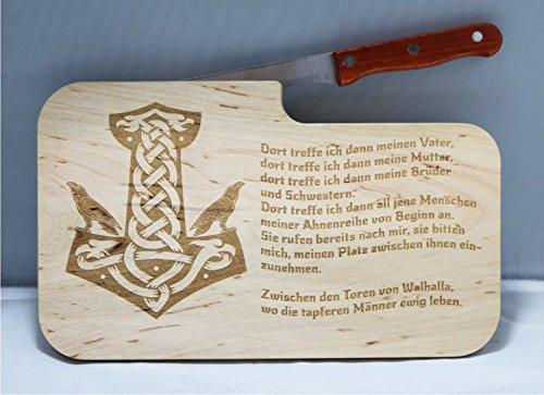 beschdstoff Wikinger Schneidebrett Brotzeitbrett Thor Hammer Motiv