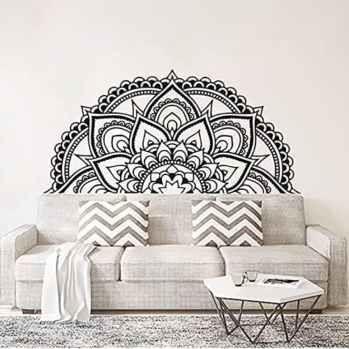 Media mandala flor pared pegatina cabecera vinilo calcomanía estilo marroquí papel pintado mandala diseño vinilo arte pegatina A1 118x57cm