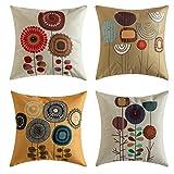 MIULEE Juego de 4 Lino Cojines Girasol Funda de Cojín Almohada Caso de Decorativo Cojines para Sala de Estar sofá Cama18 x18 Pulgadas 45x45cm