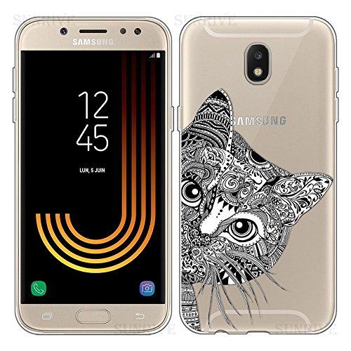 Ysimee Coque Samsung Galaxy J5 2017, Étui Transparent Motifs Mignon Housse en Silicone Souple, Dessin Cartoon TPU Case Antichoc Pare-Chocs Ultra Mince et Léger Coque pour Galaxy J5 2017,Chat