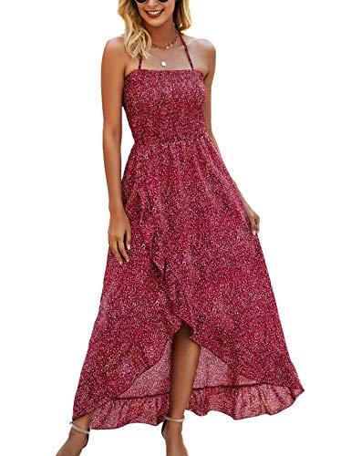 Vestido Casual de Verano para Mujer Vestidos Largos de Playa con Tiras de Lunares Vintage Rojo S
