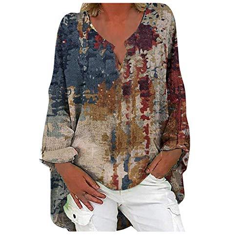 Las mujeres de moda casual de manga larga con cuello en V Especial Impreso Algodón y Lino Casual Top, Plus Size Loose Shirt Blusa Top