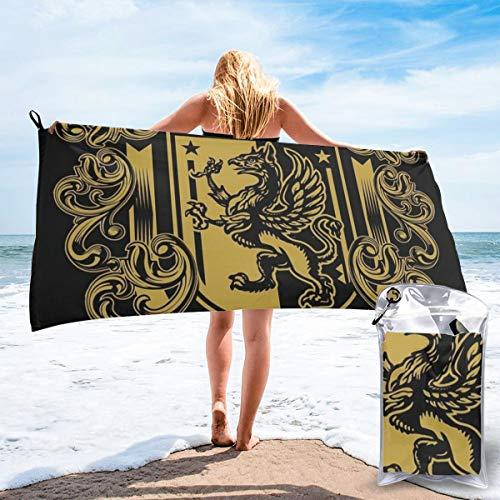 Moshow Toalla de Playa Toalla Ligera súper Absorbente de Secado rápido para Nadar, Piscina, Playa Un clásico diseño Medieval con temática de Escudo con un Grifo heráldico tamaño 80X16cm