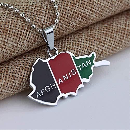 WYDSFWL Collar Ping Hip Hop Afganistán Tarjeta y Colgante de Bandera, Collar para Mujeres, Hombres, Afgano, joyería Personalizada, Regalo, Collar de Color Plateado, Regalo