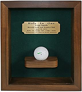 Eureka Golf Products Hole-in-One Shadow Box with Ball Shelf-Free Engraved Plate