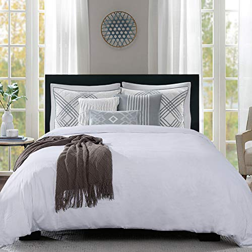 HOMBYS 100% Cotton Duvet Cover Super King Size Comforter Cover Bedding Duvet Protector Quilt Bedding Cover 116x108 inch Soft and Breathable with Hidden Zipper Closure & Corner Ties(Super King,White)