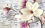 FORWALL Fototapete Vlies Wanddeko Magnolie auf Holzbretter VEXXXL (416cm. x 254cm.) AMF2878VEXXXL Natur, Wald, Blumen