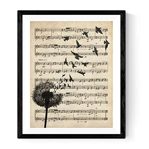 Nacnic Lámina Diente de león sobre partitura. Poster con imágenes de la Naturaleza.Lámina para enmarcar sobre partitura. Decoración de hogar.Impresa en Papel 250 Gramos