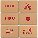 Romantic Die Cut Greeting Cards with Envelopes for Valentine's, Anniversaries (4 x 6 In, 12 Pack)