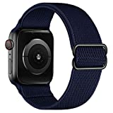 Anmino Compatible with Apple Watch Band 38mm 40mm iWatch Bands 42mm 44mm for Men Women, Adjustable Stretchy Braided Nylon Solo Loop Strap Elastic Sport Wristband for iWatch Series 6/5/4/3/2/1 SE