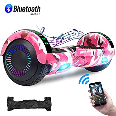 """CBD 6.5"""" Hoverboard w/Bluetooth Speaker, Self Balancing Hoverboard for Kids with LED Lights, UL 2272 Certified Bluetooth Came Pink Hoverboard"""