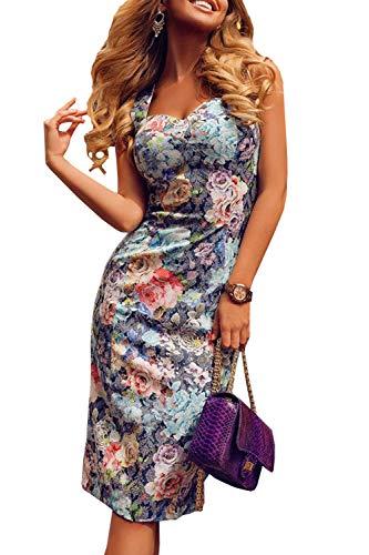 WOZNLOYE Sommerkleid Damen Sexy Sling Bandeaukleider Mode Drucken Knielang Kleider Elegant...