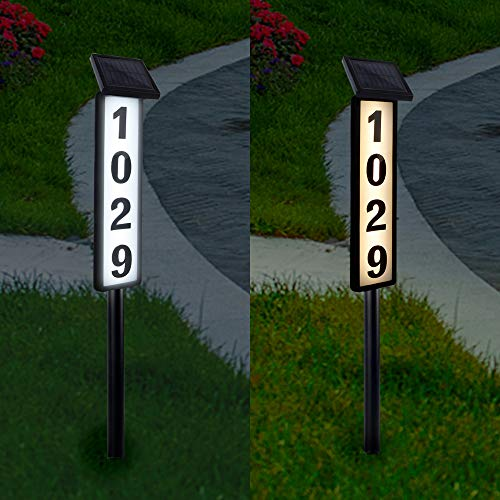ATDAWN Solar Lighted House Address Numbers Sign, Solar Powered House Numbers Light, LED Illuminated Outdoor Address Plaque for Home Yard Garden House