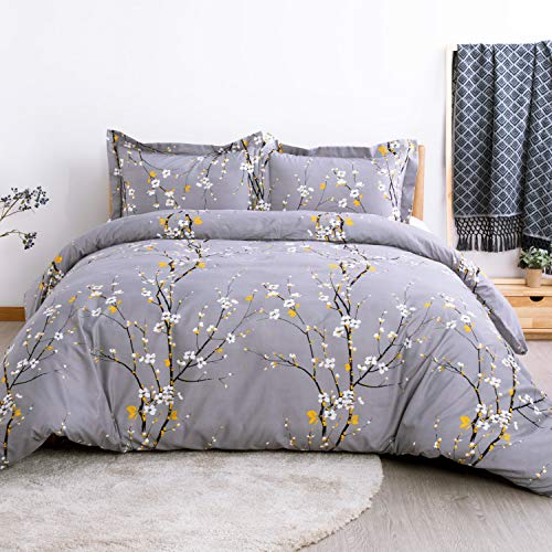 Bedsure Spring Bloom Pattern Bedding Set Full/Queen (90x90 inches) Duvet Cover Set Dark Grey Printed Modern Comforter Cover-3 Pieces-Ultra Soft Hypoallergenic Microfiber