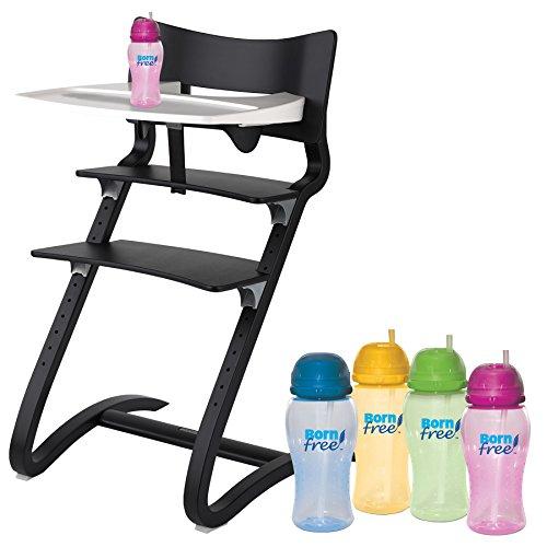 Leander Hochstuhl schwarz mit Sicherheitsbügel, ansteckbarem Tisch und BornFree-Trinkbecher