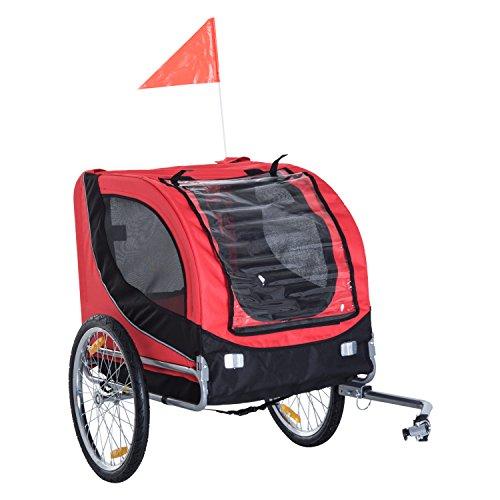 PawHut Carrellino Rimorchio per Cani Animali Domestici da Bicicletta 130 x 73 x 90cm Rosso e nero