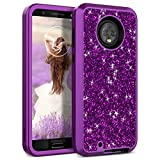 Moto G6 Case, WeLoveCase Motorola Luxury Glitter Sparkle Bling Cases 3 in 1 Shockproof Three Layer Heavy Duty Hybrid Protective Cover Case for Motorola Moto G6 5.7' Purple