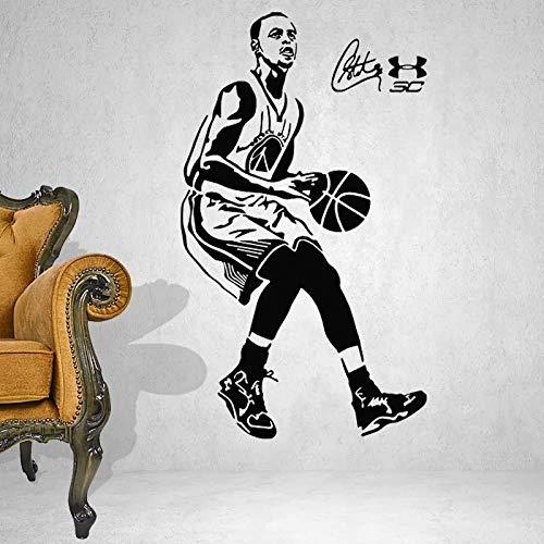Pegatinas de pared, baloncesto, estrella, deportes, pegatinas de pared, vinilo, arte de pared, papel tapiz, decoración del hogar, mural, 100x58cm