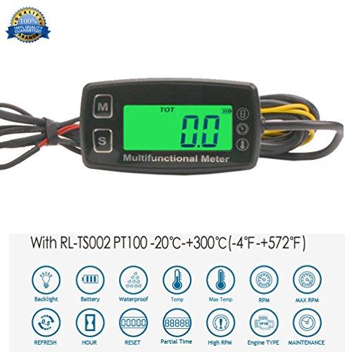 Runleader Digital Motortemperaturanzeige, Echtzeit-Drehzahlanzeige, Alarmtemperatur und Drehzahl, Arbeitszeiterfassung für Rasenmähergenerator Dirtbike Paramotor Scooter Marine Compressor.