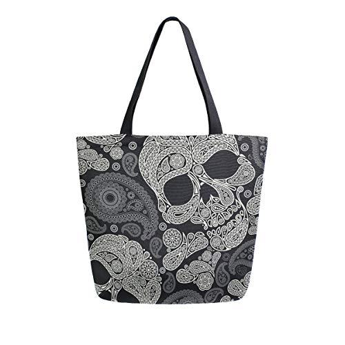 Mnsruu Dia De Los Muertos Skull Paisely Grocery - Bolsa reutilizable para mujer, tamaño grande, informal, para compras, viajes al aire libre