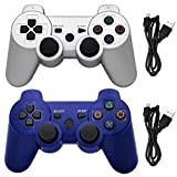Ceozon PS3 Controller Wireless Playstation 3 Controller Bluetooth for Sony PS3 Remote Controller Joystick with Charging Cords Silver + Blue