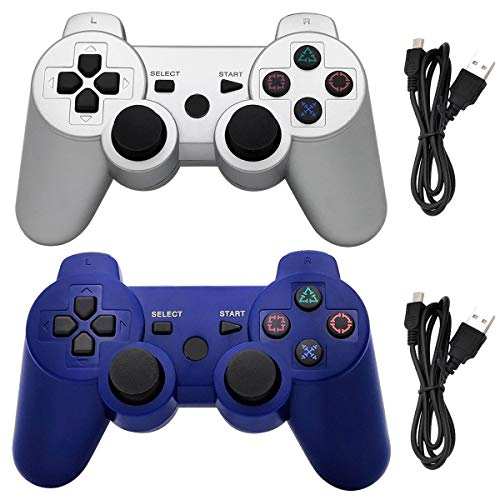 Ceozon PS3 Controller Wireless Playstation 3 Controller Bluetooth Gamepad for Playstation 3 Remote Joystick with Charging Cords Silver + Blue