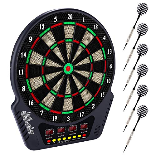 "Plohee Electronic Dart Board, 13.5"" Target Area Dartboard Set, 27 Games and 243 Variants with 6..."