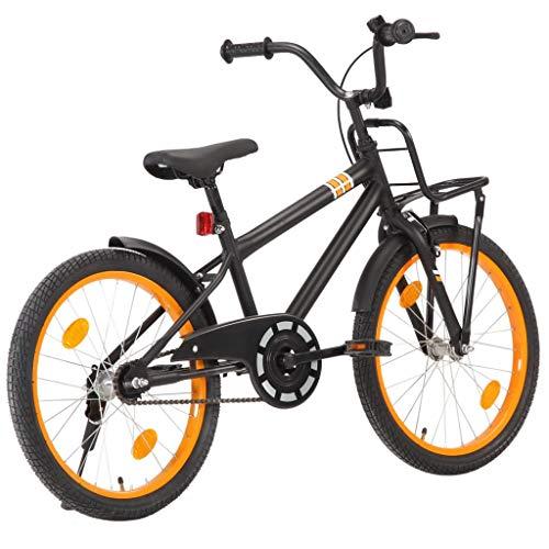 Festnight Bicicleta Niños y Portaequipajes Delantero 20 Pulgadas Bicicletas niños Deportiva para Niños y Niñas a 5-7 Años Negro y Naranja