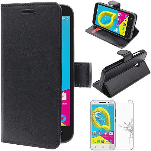 ebestStar - kompatibel mit Alcatel U5 Hülle U5 Kunstleder Wallet Hülle Handyhülle [PU Leder], Kartenfächern, Standfunktion, Schwarz + Panzerglas Schutzfolie [Phone: 140.7 x 71.8 x 10mm, 5.0'']