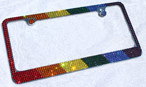 Hotblings Rainbow Pride Flag Made w/Swarovski Elements Crystals Metal License Plate Frame & Caps -  RBW-SWR