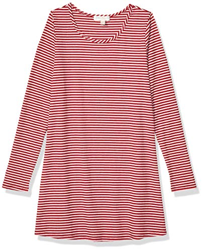 love, FiRE Girls' Big Stripe Rib T-Shirt Dress, Chili Pepper White, M