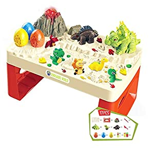 Dinosaur dough play table with extensive dough accessories