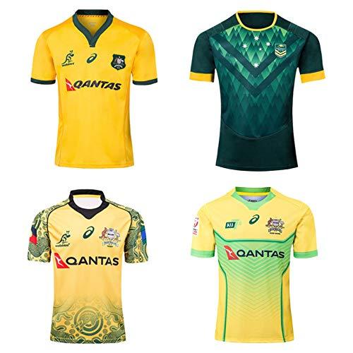 Rugby Jersey, 19-20 Australien 7s Rugby T-Shirt/Australien Gedenkausgabe Auswärts Rugby Jersey, Männer Schulung Wettbewerb Fußball Jersey Yellow.c-XXXL