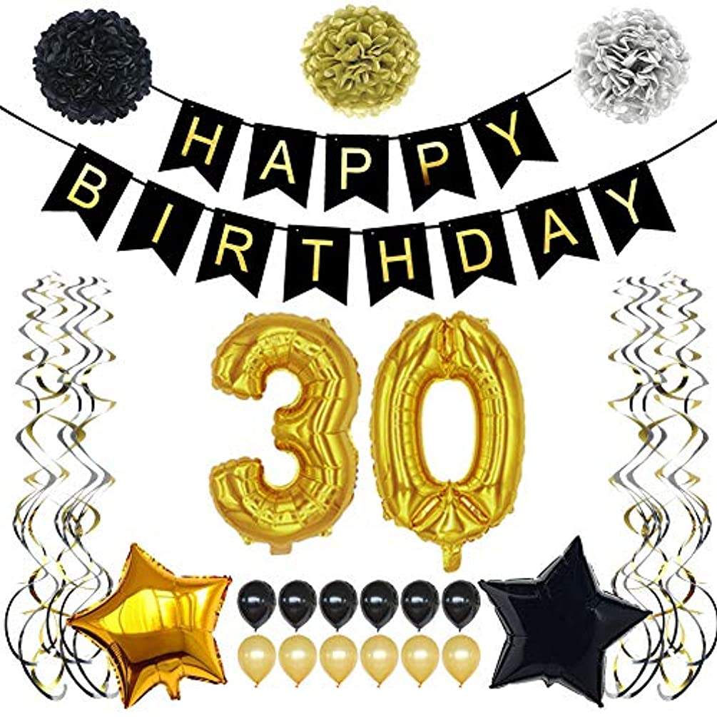 TYLANG 30th Birthday Decorations for Men Women, Black and Gold Birthday Party Decorations Supplies, Happy Birthday Banner 40 Number and Latex Balloons (Black)