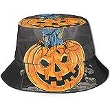 Sombrero de Cubo Unisex Calabaza Miedo Arte de Halloween Impreso Sombrero para el Sol al Aire Libre...