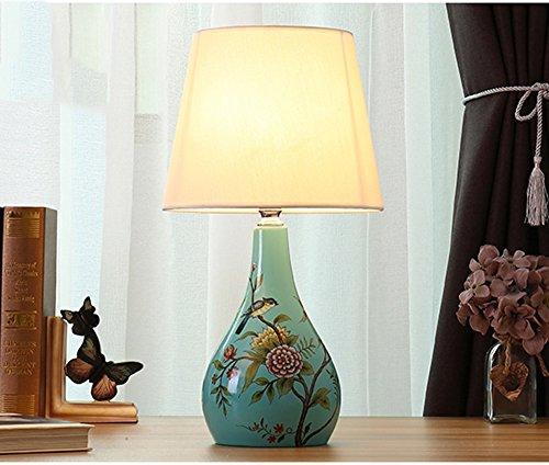 NPZ- Amerikanischen land stil warme tischlampe keramik Licht körper tuch lampenschirm E27 knopfschalter schlafzimmer lampe Beleuchtung und Armaturen ( Farbe : A )