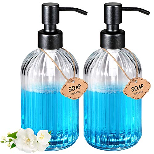 Soap Dispenser 2 Pack15oz Vertical Striped Dish Soap Dispenser with Rust Proof Stainless Steel Pump Refillable and Premium,Ideal for Hand Soap Shampoo Lotion Conditioner,Essential Oil Black