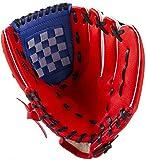 ZYYRSS Guantes de béisbol Guantes de béisbol con Cuero de PU de béisbol Ajustables y cómodos, tamaños para Adultos y jóvenes: Tiro a la Derecha, 12.5 Pulgadas (Rojo)