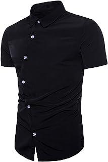 kolila 2020 Men's Dress Shirts Casual Regular Slim Fit Solid Button Down Short Sleeve Men Shirt Casual Business Blouse