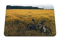 22cmx18cm マウスパッド (フィールド草原草自転車花) パターンカスタムの マウスパッド