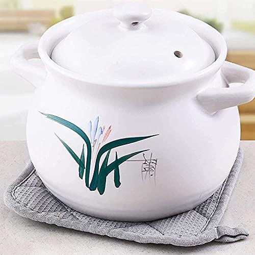 MZYKA Cacerola de cerámica resistente a altas temperaturas de 4,5 l, para sopa de salud, olla de cerámica Bibimbap, apta para el hogar, llama abierta, gas natural, gas, blanco
